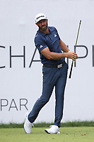 29th August 2021; Owens Mills, Maryland, USA;  Dustin Johnson (USA) watches his shot from the 1st tee during the final round of the BMW Championship on August 29, 2021, at Caves Valley Golf Club in Owings Mills, MD.