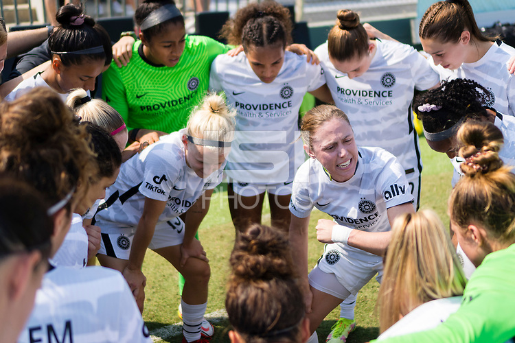 CARY, NC - SEPTEMBER 12: Meghan Klingenberg #25 of the Portland Thorns gives a pregame speech before a game between Portland Thorns FC and North Carolina Courage at WakeMed Soccer Park on September 12, 2021 in Cary, North Carolina.