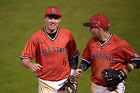 Ball State Cardinals shortstop Alex Maloney (6) and second baseman Ryan Spaulding (5) jog off the field during a game against the Wisconsin-Milwaukee Panthers on February 26, 2016 at Chain of Lakes Stadium in Winter Haven, Florida.  Ball State defeated Wisconsin-Milwaukee 11-5.  (Mike Janes/Four Seam Images)