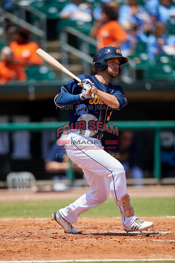 Montgomery Biscuits center fielder Nathan Lukes (2) hits a triple during a game against the Biloxi Shuckers on May 8, 2018 at Montgomery Riverwalk Stadium in Montgomery, Alabama.  Montgomery defeated Biloxi 10-5.  (Mike Janes/Four Seam Images)
