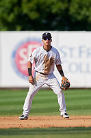 Staten Island Yankees shortstop Eduardo Torrealba (13) during a game against the Lowell Spinners on August 22, 2018 at Richmond County Bank Ballpark in Staten Island, New York.  Staten Island defeated Lowell 10-4.  (Mike Janes/Four Seam Images)