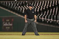 Second base umpire Jeremy Riggs during an Arizona Fall League game between the Scottsdale Scorpions and the Mesa Solar Sox at Sloan Park on October 10, 2018 in Mesa, Arizona. Scottsdale defeated Mesa 10-3. (Zachary Lucy/Four Seam Images)