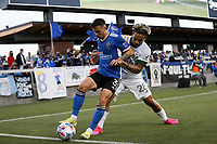 SAN JOSE, CA - MAY 15: Paul Marie #3 of the San Jose Earthquakes holds the ball up during a game between Portland Timbers and San Jose Earthquakes at PayPal Park on May 15, 2021 in San Jose, California.