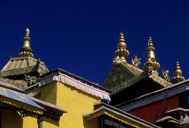 Gilded roof ornaments atop Red Palace at Potala Palace, Lhasa, Tibet, Tibetan Autonomous Region, China