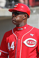 Eric Davis #44 roving instructor for the Cincinnati Reds in Zebulon, NC to work with members of the Reds'  AA affiliate the Carolina Mudcats before a game against the Tennessee Smokies on April 20, 2010.