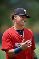 GCL Twins Keoni Cavaco (9) during warmups before a Gulf Coast League game against the GCL Pirates on August 6, 2019 at Pirate City in Bradenton, Florida.  GCL Twins defeated the GCL Pirates 1-0 in the second game of a doubleheader.  (Mike Janes/Four Seam Images)