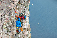 Andy Turner and Dave Macleod at the Guillotine belay on the Long Hope route... Dave gets prepared for the crux pitch ahead!
