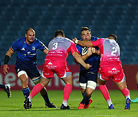 2nd October 2020; RDS Arena, Dublin, Leinster, Ireland; Guinness Pro 14 Rugby, Leinster versus Dragons; Jack Conan (Leinster) drives into tackles from Aaron Jarvis and Elliot Dee (Dragons)