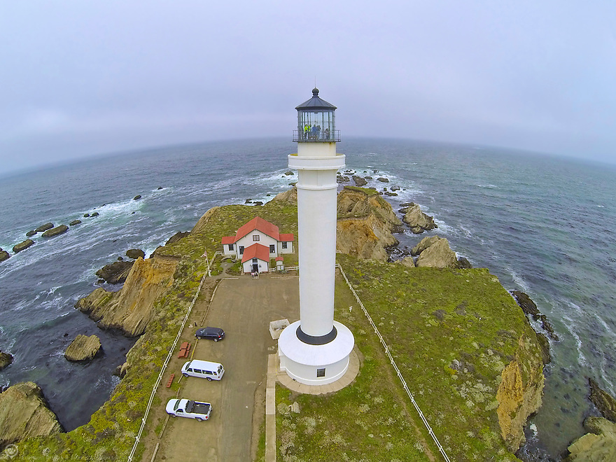 Aerial shot of Pt Arena Lighthouse, CA