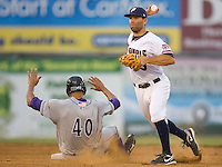Shortstop Danny Espinosa #3 of the Potomac Nationals turns a double play as Salvador Sanchez #40 of the Winston-Salem Dash slides into second base at Pfitzner Stadium June 11, 2009 in Woodbridge, Virginia. (Photo by Brian Westerholt / Four Seam Images)