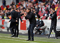 22nd May 2021; Brentford Community Stadium, London, England; English Football League Championship Football, Playoff, Brentford FC versus Bournemouth; Brentford Manager Thomas Frank shouting at his players from the touchline