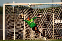 Sky Blue FC goalkeeper Brittany Cameron (1) dives for a shot. The Western New York Flash defeated Sky Blue FC 3-0 during a National Women's Soccer League (NWSL) match at Yurcak Field in Piscataway, NJ, on June 8, 2013.