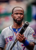 1 August 2018: New York Mets infielder Jose Reyes checks his bat in the dugout during a game against the Washington Nationals at Nationals Park in Washington, DC. The Nationals defeated the Mets 5-3 to sweep the 2-game weekday series. Mandatory Credit: Ed Wolfstein Photo *** RAW (NEF) Image File Available ***