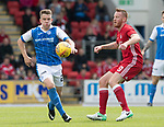 St Johnstone v Aberdeen…01.07.17  McDiarmid Park     Pre-Season Friendly <br />Kyle McClean gets the ball from Adam Rooney<br />Picture by Graeme Hart.<br />Copyright Perthshire Picture Agency<br />Tel: 01738 623350  Mobile: 07990 594431