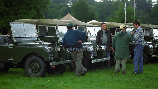 Land Rover Series 1 collectors John Taylor (right) and Nick Howard being interviewed at the 1998 Land Rover Series 1 Club event in Shugborough, UK. NO RELEASES AVAILABLE. Automotive trademarks are the property of the trademark holder, authorization may be needed for some uses.