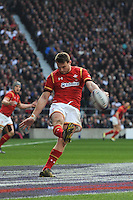 Dan Biggar of Wales clears his line during the RBS 6 Nations match between England and Wales at Twickenham Stadium on Saturday 12th March 2016 (Photo: Rob Munro/Stewart Communications)