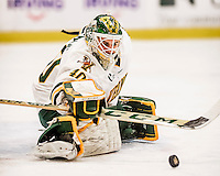 20 January 2017: University of Vermont Catamount Goaltender Stefanos Lekkas, a Freshman from Elburn, IL, makes a first period save against the University of Connecticut Huskies at Gutterson Fieldhouse in Burlington, Vermont. The Catamounts held onto their lead throughout the game to defeat the Huskies 5-4 in Hockey East play. Mandatory Credit: Ed Wolfstein Photo *** RAW (NEF) Image File Available ***