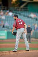 Sacramento River Cats starting pitcher Brandon Beachy (35) looks for the sign against the Salt Lake Bees at Smith's Ballpark on July 18, 2019 in Salt Lake City, Utah. The Bees defeated the River Cats 9-6. (Stephen Smith/Four Seam Images)