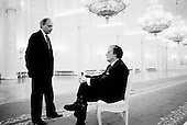"""Moscow, Russia<br /> Soviet Union<br /> August 6, 1991<br /> <br /> Roon Arledge, president of ABC News, and Russian broadcaster Vladimir Posner inside the Kremlin moments before Mikhail Gorbachev and Boris Yelstin conduct a private interview with US ABC television.<br /> <br /> In December 1991, food shortages in central Russia had prompted food rationing in the Moscow area for the first time since World War II. Amid steady collapse, Soviet President Gorbachev and his government continued to oppose rapid market reforms like Yavlinsky's """"500 Days"""" program. To break Gorbachev's opposition, Yeltsin decided to disband the USSR in accordance with the Treaty of the Union of 1922 and thereby remove Gorbachev and the Soviet government from power. The step was also enthusiastically supported by the governments of Ukraine and Belarus, which were parties of the Treaty of 1922 along with Russia.<br /> <br /> On December 21, 1991, representatives of all member republics except Georgia signed the Alma-Ata Protocol, in which they confirmed the dissolution of the Union. That same day, all former-Soviet republics agreed to join the CIS, with the exception of the three Baltic States."""