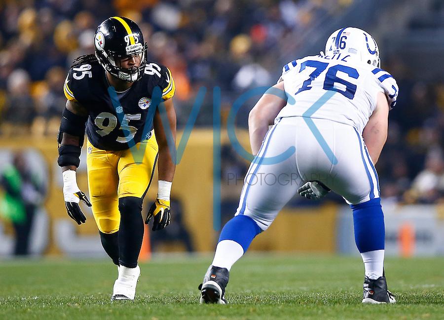 Jarvis Jones #95 of the Pittsburgh Steelers in action against the Indianapolis Colts during the game at Heinz Field on December 6, 2015 in Pittsburgh, Pennsylvania. (Photo by Jared Wickerham/DKPittsburghSports)