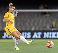 June 7, 2016: STEPHANIE CATLEY (7) of Australia kicks the ball during an international friendly match between the Australian Matildas and the New Zealand Football Ferns as part of the teams' preparation for the Rio Olympic Games at Etihad Stadium, Melbourne. Photo Sydney Low