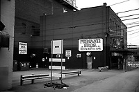 The Strip District sits mostly empty in the morning hours on Saturday April 4, 2020 in Pittsburgh, Pennsylvania. (Photo by Jared Wickerham/Pittsburgh City Paper)