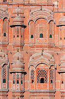 Jaipur, Rajasthan, India.  Hawa Mahal, built 1799.  Hexagons in the lower window laticework.