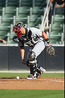 Hickory Crawdads catcher Kevin Torres (35) on defense against the Kannapolis Intimidators at CMC-Northeast Stadium on May 4, 2014 in Kannapolis, North Carolina.  The Intimidators defeated the Crawdads 3-1.  (Brian Westerholt/Four Seam Images)