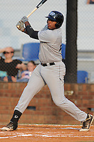 Bluefield Blue Jays first baseman Art Charles #24 swings at a pitch during the first game of the 2011 Championship Series between the Bluefield Blue Jays and the Johnson City Cardinals at Howard Johnson Field on September 3, 2011 in Johnson City, Tennessee.  The Cardinals won the game 4-3.  (Tony Farlow/Four Seam Images)