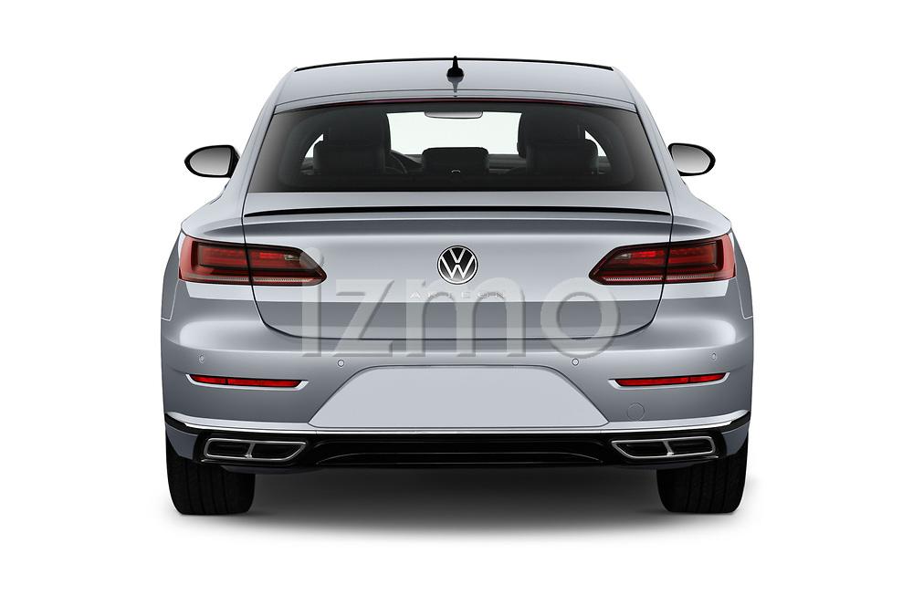 Straight rear view of 2021 Volkswagen Arteon SEL-Premium-R-Line 5 Door Hatchback Rear View  stock images
