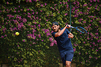 11th April 2021; Roquebrune-Cap-Martin, France;  Lucas Pouille Fra during practise sessions for the  Rolex Monte Carlo Masters