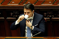 The Italian Premier Giuseppe Conte having a coffee during the information at the Lower Chamber about the Government crisis..<br /> Rome(Italy), January 18th 2021<br /> Photo Samantha Zucchi/Insidefoto