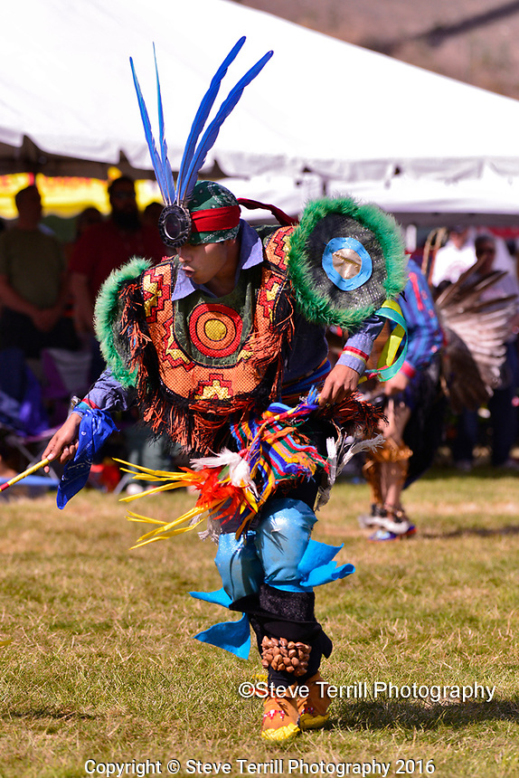 Natiive American performing during dance contest at Indian Pow Wow in West Delta Park at one of the many Rose Festival events held every year in Portland Oregon