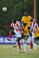 Manuel Kante #19, Jack Traynor #5, Lawrence Olum (foreground)...AC St Louis were defeated 1-2 by Austin Aztek in their inaugural home game in front of 5,695 fans at Anheuser-Busch Soccer Park, Fenton, Missouri.