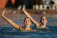 STANFORD, CA - FEBRUARY 7:  Kimiko Koko Urata (left) and Morgan Fuller (right) of the Stanford Cardinal during Stanford's 88-78 win against the Incarnate Word Cardinals on February 7, 2009 at Avery Aquatic Center in Stanford, California.