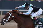April 12, 2014: #1 Danza with jockey Joe Bravo aboard crossing the finish line during the Arkansas Derby at Oaklawn Park in Hot Springs, AR. Justin Manning/ESW/CSM