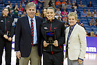 Apr 6, 2013; Kayla McBride receives the WBCA Coaches' All-America Basketball Team award at the New Orleans Arena. Photo by Barbara Johnston/ University of Notre Dame