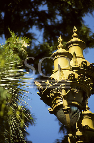 Buenos Aires, Argentina. Detail of lamps in a city centre park.