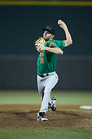 Down East Wood Ducks starting pitcher Jason Bahr (18) in action against the against the Winston-Salem Dash at BB&T Ballpark on May 10, 2019 in Winston-Salem, North Carolina. The Wood Ducks defeated the Dash 9-2. (Brian Westerholt/Four Seam Images)