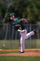 Dartmouth Big Green relief pitcher Chris Burkholder (16) follows through on a pitch during a game against the Eastern Michigan Eagles on February 25, 2017 at North Charlotte Regional Park in Port Charlotte, Florida.  Dartmouth defeated Eastern Michigan 8-4.  (Mike Janes/Four Seam Images)