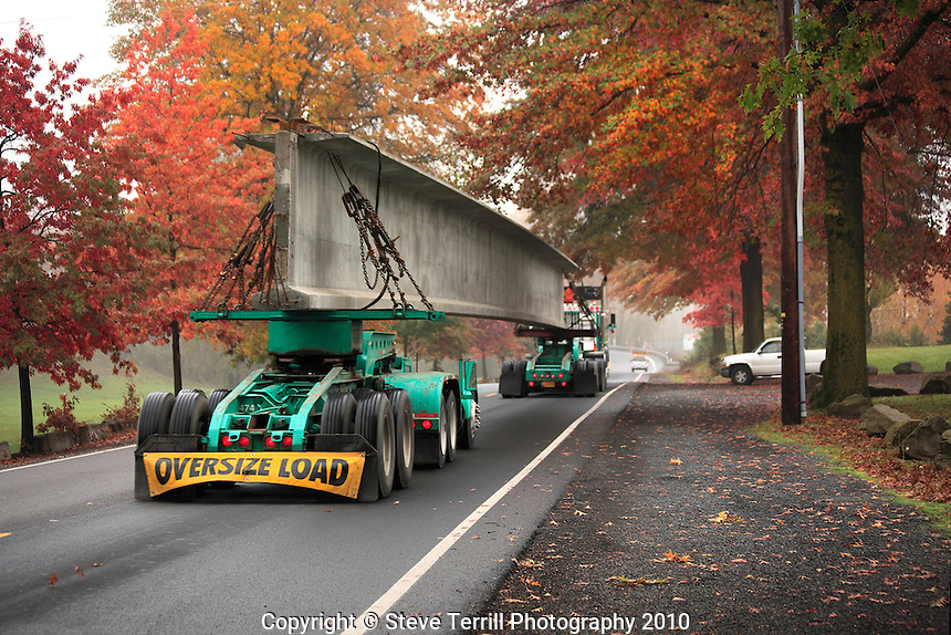 Oversize load traveling on road in Delta Park in Portland, Oregon