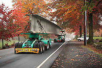 Oversize load traveling on road in Delta Park in Portland, Oregon