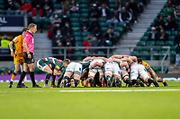 21st May 2021; Twickenham, London, England; European Rugby Challenge Cup Final, Leicester Tigers versus Montpellier; Richard Wigglesworth of Leicester Tigers puts into the scrum
