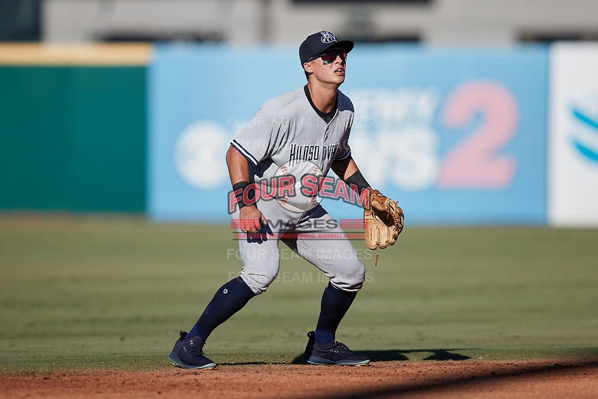 Hudson Valley Renegades shortstop Anthony Volpe (5) on defense against the Greensboro Grasshoppers at First National Bank Field on September 2, 2021 in Greensboro, North Carolina. (Brian Westerholt/Four Seam Images)