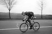 Jesse Sergent (NZL/Trek Factory Racing) trying to bridge over to the breakaway<br /> <br /> Dwars Door Vlaanderen 2014