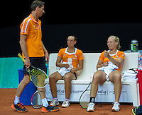 2016, 12 April, Arena Loire, Trélazè,  Semifinal FedCup, France-Netherlands,  Dutch players Cindy Burger and Kiki Bertens (R) with captain Paul Haarhuis<br /> Photo:Tennisimages/Henk Koster