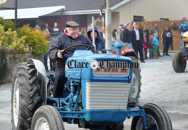 Noel Bolton from Scariff hits the road during the vintage rally in Scariff at the wekend. Photograph by Declan Monaghan