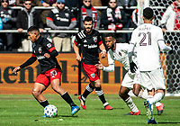 WASHINGTON, DC - FEBRUARY 29: Edison Flores #10 of DC United starts an attack during a game between Colorado Rapids and D.C. United at Audi Field on February 29, 2020 in Washington, DC.