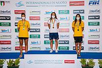 ( L to R, silver, gold, bronze), FRANCESCHI Sara, PIROVANO Anna, COCCONCELLI Costanza<br /> 200 Individual Medley Women podium<br /> Roma 13/08/2020 Foro Italico <br /> FIN 57 LVII Trofeo Sette Colli - Campionati Assoluti 2020 Internazionali d'Italia<br /> Photo Giorgio Scala/DBM/Insidefoto