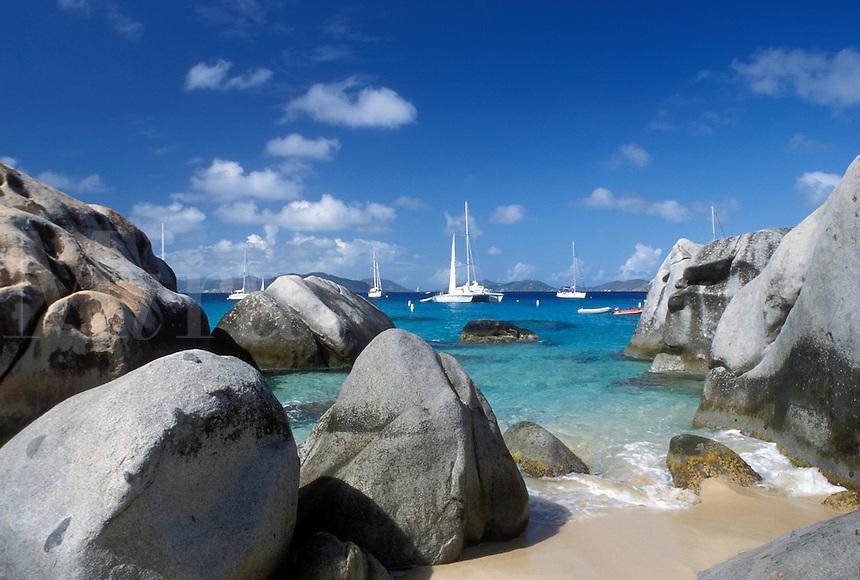 Virgin Gorda, The Baths, Devils Bay National Park, BVI, British Virgin Islands, Caribbean, Boats anchored in the harbor of Devils Bay Nat'l Park at The Baths on Virgin Gorda on the Caribbean Sea.